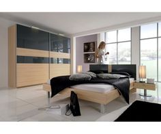 Chambre grise Calina E - meuble-et-canape.com #chambremoderne Wardrobes, Bed, Furniture, Home Decor, Gray, Modern Bedroom, Closets, Decoration Home, Stream Bed