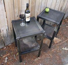 Handmade scrap metal industrial side table