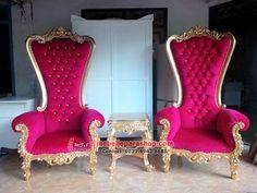 Kursi princess syahrini merah gold