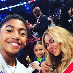 Blue Ivy, Mom Beyoncé and Miles Brown at All Star Game 2017