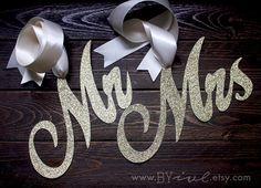 Glitter Mr. & Mrs. Chair Sign. Wedding Chair Decor. by byive
