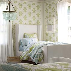 Beautiful Girls rooms soft and pretty with a fun pattern Serena and Lily