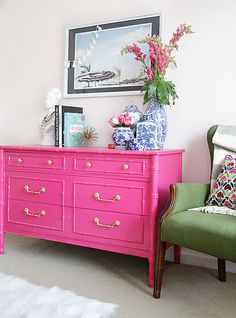 """Terrific One Room Challenge: Guest Room // REVEAL – Style Your Senses. Faux Bamboo Chest: Craigslist (used Design Master """"Raspberry"""") to refinish The post One Room Challenge: Guest Room // REV . Bamboo Furniture, Furniture Design, Hot Pink Furniture, Bright Painted Furniture, Furniture Buyers, Furniture Removal, Deco Furniture, Rustic Furniture, Antique Furniture"""