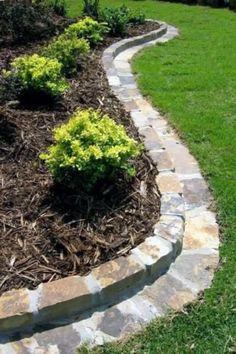 Landscape Edging Stone, Stone Edging, Garden Edging Stones, Yard Edging, Stone Garden Paths, Edging Plants, Brick Edging, Brick Garden, Herb Garden Design