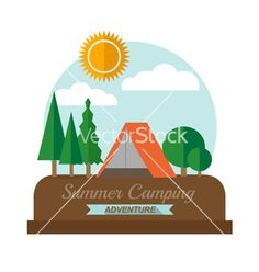 Summer camping adventure landscape vector by iMagwee on VectorStock®