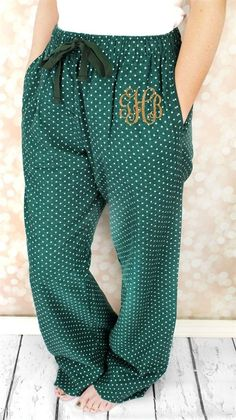 Green and gold monogrammed pajama pants! So Baylor, so perfect!