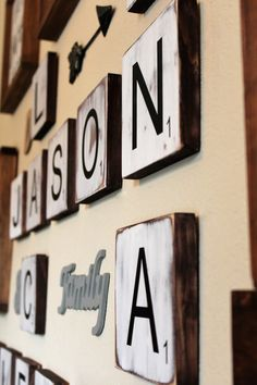 Finally finished a Farmhouse Scrabble Tile Gallery Wall for our own home! Love how it turned out! Large Scrabble Letters, Scrabble Tile Wall Art, Painted Letters, Wood Letters, Farmhouse Style Decorating, Farmhouse Decor, Farmhouse Ideas, Modern Farmhouse, Family Wall