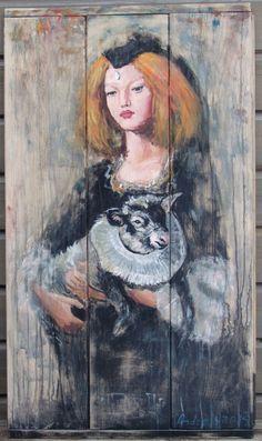 2015.01. Wood desks panel, 96,5 x 56 cm, acryl, varnish  Girl with yeanling