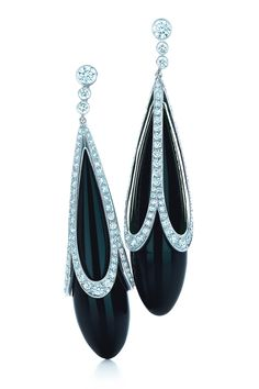 Tiffany & Co. black onyx earrings with platinum-set diamonds.