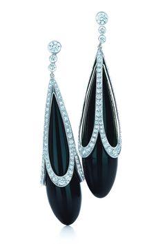 Tiffany & Co. black onyx earrings with platinum-set diamonds.