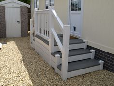 Fensys white and driftwood double step unit for park home or caravan Plastic Fencing, Decking Suppliers, Caravan Holiday, Balcony Railing, Led Manufacturers, Railing Design, Park Homes, Caravans, Driftwood