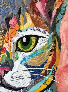 Paper Collage Art, Collage Art Mixed Media, Paper Artwork, Collage Artists, Canvas Art Projects, Texture Art, Fabric Art, Art Techniques, Cat Art