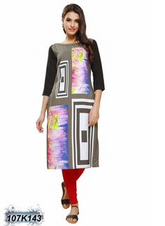 Bedazzling Multi Coloured Poly Crepe Printed Kurti