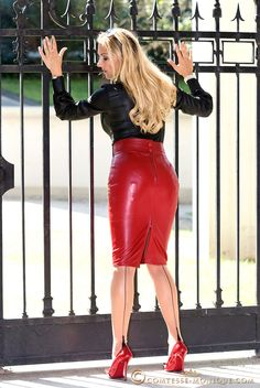 Garter Bumps Under Tight Red Leather Pencil Skirt Black Blouse Sheer Back Seam Stockings and Red Stiletto High Heels
