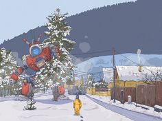 Saturday in the home village, Tomas Ciger Eniac on ArtStation at https://www.artstation.com/artwork/reaW5