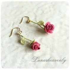 Aretes crochet- flor Rosa