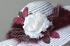 Weiße Burgunder Frau Bridal Wedding Hut von BridalWorldAccessory