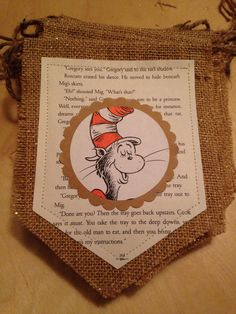 Childrens book theme lot perfect for baby shower or childrens book theme birthday party. The lot includes 2 banners, 25 cupcake picks and 25 book theme favor bags. Each banner measures 62 inches long from first pendant to last pendant (plus 20 inches extra string to secure on each end). Banners are made with burlap and book pages that have been sewn. Banners and cupcake picks include pictures of well known childrens books like Curious George, Clifford, Where the Wild Things Are, Dr. Seuss…