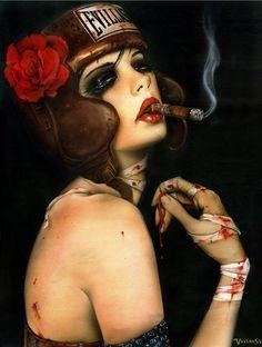 "One of Brian Viveros' ""cigarette girls"""