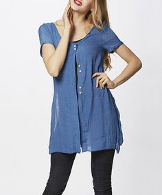 Look what I found on #zulily! Blue Button-Up Fly-Away Tunic by Simply Couture #zulilyfinds