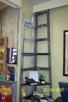 Cave City Welcome Center Shelving made from old ladders donated by Wilma Gilbert.