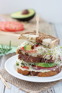 Fresh & fun white bean and avocado sandwich! With a white bean spread filled with fresh herbs, plus sliced avocado, fresh tomatoes and sprouts! Vegan Sandwich Recipes, Gourmet Recipes, Cooking Recipes, Vegan Sandwiches, Vegetarian Wraps, Vegetarian Recipes, Healthy Recipes, Healthy Food, Vegetable Casserole Healthy