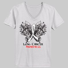 Lung Cancer Awareness Butterfly shirts, apparel and tees by www.lungcancershirts.com