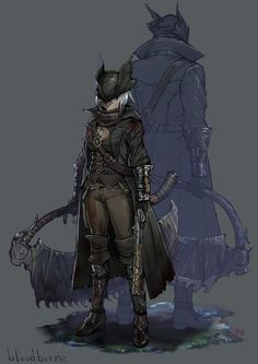 Bloodborne Game, Bloodborne Characters, Fantasy Characters, Character Concept, Character Art, Arte Dark Souls, Soul Saga, Old Blood, Anime Drawing Styles