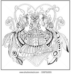 Beautiful Woman With Peacock Feather Dress Adult Coloring Book Page