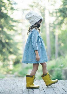 denim dress and yellow rain boots
