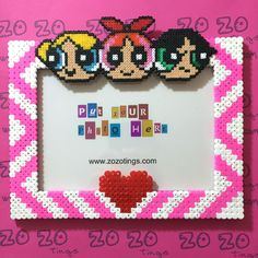 The Powerpuff Girls photo frame hama beads by Zo Zo Things Nerd Crafts, Diy Crafts To Do, Crafts For Teens, Pearler Bead Patterns, Perler Patterns, Powerpuff Girls, Motifs Perler, Hama Beads Design, Peler Beads