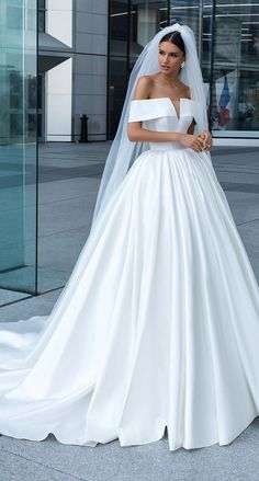 Crystal design ball gown wedding dress - claide | Simple princess bridal gown
