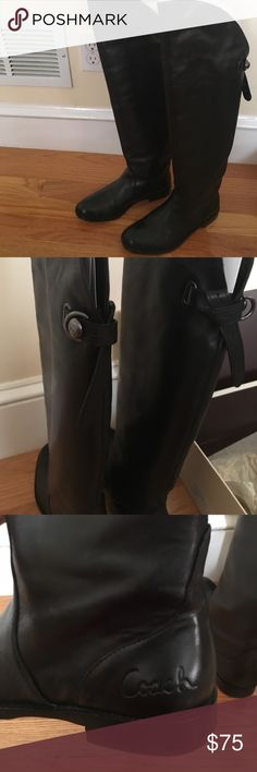 Coach leather over the knee boots Coach leather over the knee boots. Wear it with jeans, leggings or skirt. Cute boots, excellent condition. Worn only a couple of times. Coach Shoes Over the Knee Boots