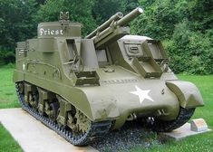 The 105 mm Howitzer Motor Carriage M7 was an American self-propelled artillery vehicle produced during World War II. It was given the official service name 105 mm Self Propelled Gun, Priest by the British Army, due to the pulpit-like machine gun ring, and following on from the Bishop and the contemporary Deacon self-propelled guns.