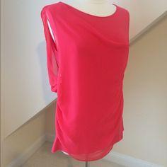 HP NWT T Tahari Sleeveless Top NWT T Tahari Creston Knit Sleeveless Top...bright coral...chiffon drape front rounded collar...super soft 95% modal rayon, 5% elastane...hand wash cold. Retail $68 T Tahari Tops Blouses