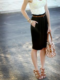 Black lace skirt + tan shoes & accessories + white singlet/top -- love.