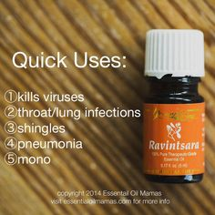 Young Living Ravintsara essential Oil is great for respiratory infections, viruses, Pneumonia, shingles, and mono.