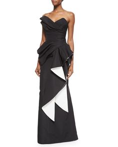 B30VX Rubin Singer Strapless Two-Tone Pleated Gown, Black/White
