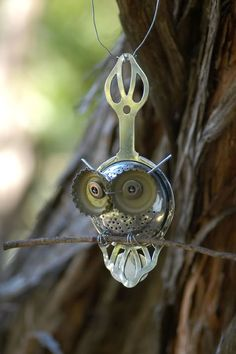 Wee little owl made from bits and bobs!