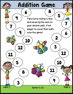 Fun and Engaging Addition Dice Games. Perfect for learning addition facts! $