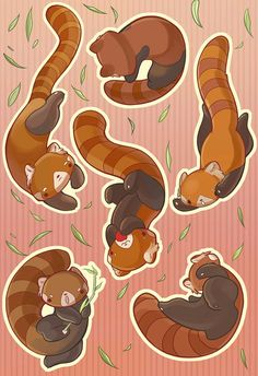 Falling Animals Red Panda Sticker Set by Labillustration on Etsy