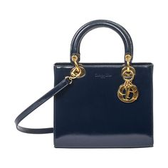 Lady Dior PM navy | From a collection of rare vintage handbags and purses at https://www.1stdibs.com/fashion/accessories/handbags-purses/
