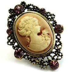 Fantasy Jewelry Box Womens Carysa's Heirloom Style Purple Crystal Cameo Brooch