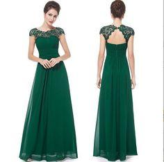 Floor Length Bridesmaid Dress,Cap Sleeve Bridesmaid Dress,Dark Green Prom Dresses ,Long Chiffon Evening Dresses