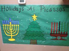 Holiday Around The World Preschool Bulletin Board Ideas Feliz Hanukkah, Hanukkah Crafts, Hanukkah Decorations, Christmas Hanukkah, Hannukah, Happy Hanukkah, School Decorations, Kwanzaa, Holiday Bulletin Boards