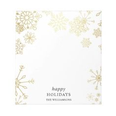 Modern Gold Snowflakes Christmas Party Notepad - golden gifts gold unique style cyo