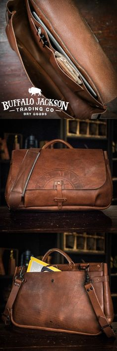 Men's vintage full-grain brown leather postal messenger mail bag. Handcrafted to handle whatever you throw at it - work, travel, or adventure. Will fit up to 17-inch laptops. Adjustable shoulder strap for wearing cross body and casual. You want fashion? Louis Vuitton, Michael Kors, & Hermes (or Coach or Gucci or Prada…), ain't got nothin on us. Rugged craftsmanship for the win. Waxed canvas version also available.