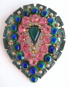 Antique Nouveau Peacock Eye Glass Pin Pink Crystal Aqua Marine Rhinestone Brooch in Jewelry & Watches, Vintage & Antique Jewelry, Costume, Victorian, Edwardian 1837-1910, Pins, Brooches | eBay