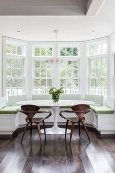 25 Great Transitional Dining Room Designs Your Home: 25 Kitchen Window Seat Ideas Nook Table, Dining Nook, Dining Tables, Table Bench, Oval Table, Bench Seat Dining Room, Dining Room Windows, Kitchen Windows, Console Tables