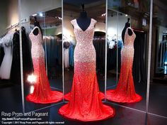 Red/Nude V Neck Beaded Low Back Prom Dress